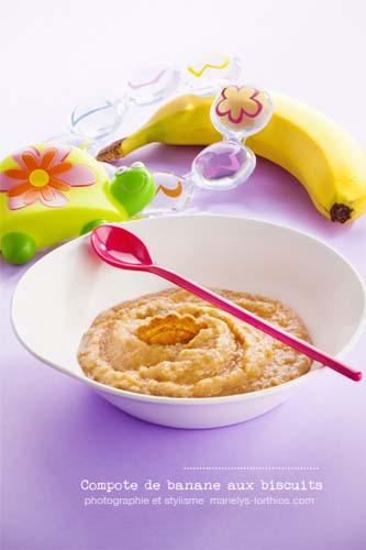 recettes pour bébé, compote banane et biscuit