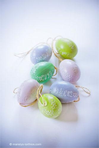 décoration de pâques, oeufs pastel