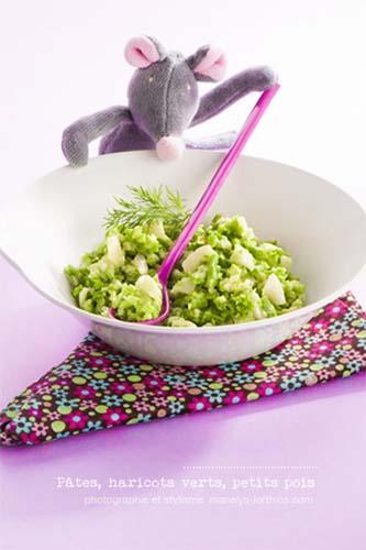 recettes pour bébé, pâtes et légumes verts