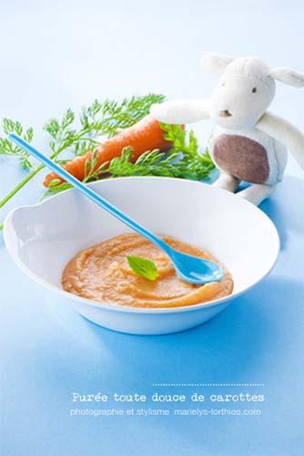 recettes pour bébé, purée de carottes