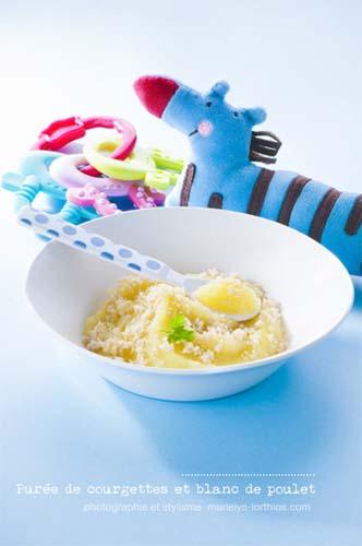 recettes pour bébé, purée de courgettes et poulet