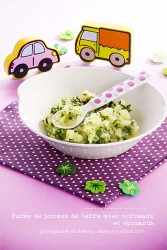 recettes pour bébé, purée pomme de terre épinards