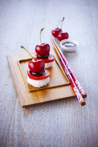 photographie professionnelle, sushi à la cerise