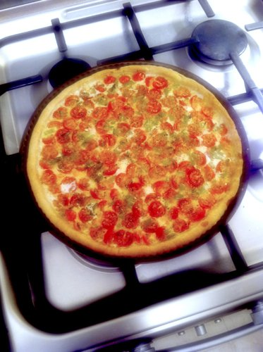 photo i-phone, tarte tomates cerises