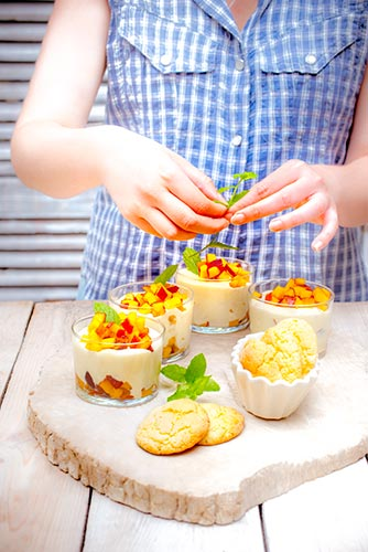 recettes prêtes en avance mousse de pêche à la menthe et biscuits amande Companion de Moulinex make ahead recipes