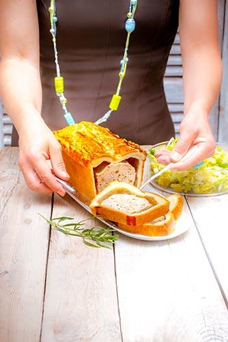 recettes prêtes en avance tranche de paté en croûte au poulet estragon et salade orientale Companion de Moulinex make ahead recipes