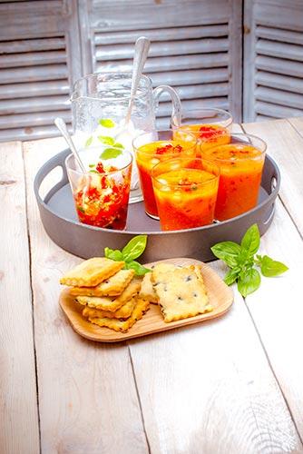 recettes prêtes en avance soupe glacée tomates crakers Companion de Moulinex make ahead recipes