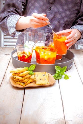 recettes prêtes en avance soupe glacée aux tomates crakers parmesan Companion de Moulinex make ahead recipes