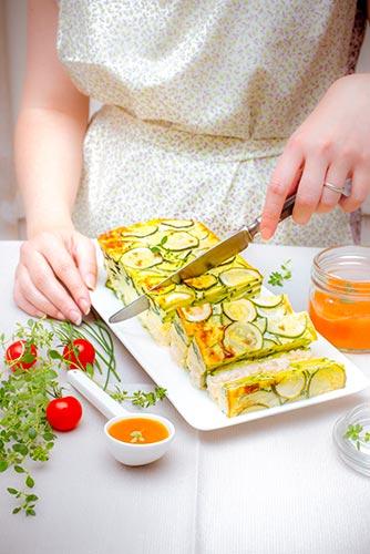 recettes prêtes en avance tranche de flan de courgettes coulis tomates Companion de Moulinex make ahead recipes