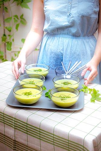 recettes prêtes en avance soupe froide petits pois menthe Companion de Moulinex make ahead recipes