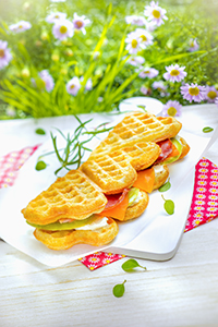 miniature gaufre coeur sandwich fromage crudités snack collection tefal