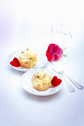 recette festives petits choux à la crème aux fruits de la passion valentine's day recipes