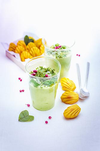 recette festive mousse d'avocats et mini madeleines au curcuma et gingembre valentine's day recipes