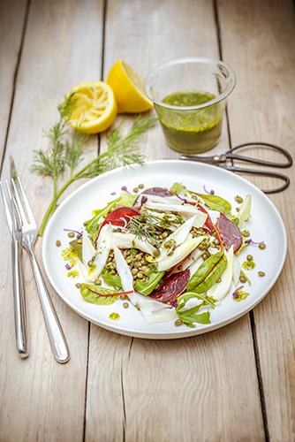 Délicieux petits légumes salade raie lentilles carottes fenouil vinaigrette a l aneth legumes printemps companion moulinex