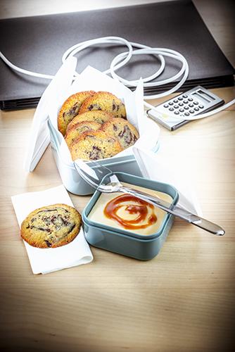déjeuner au travail recette crème caramel au beurre salé et cookies chocolat companion moulinex lunch box