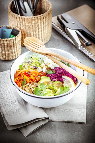 déjeuner au travail recette buddha bol de légumes et vinaigrette tahini companion moulinex lunch box