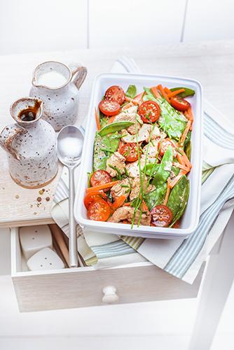 recettes en famille, sautée de légumes et poulet au vinaigre balsamique